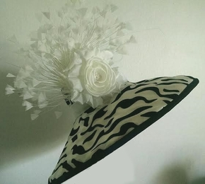 Karina, Black and White Derby Hat by Arturo Rios