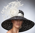 """Karina"" Black and White Derby Hat by Arturo Rios"