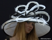 Shade Hat in White with Black Trim for the Kentucky Derby