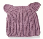 Knit Pussy Cat Hat in Mauve Pink