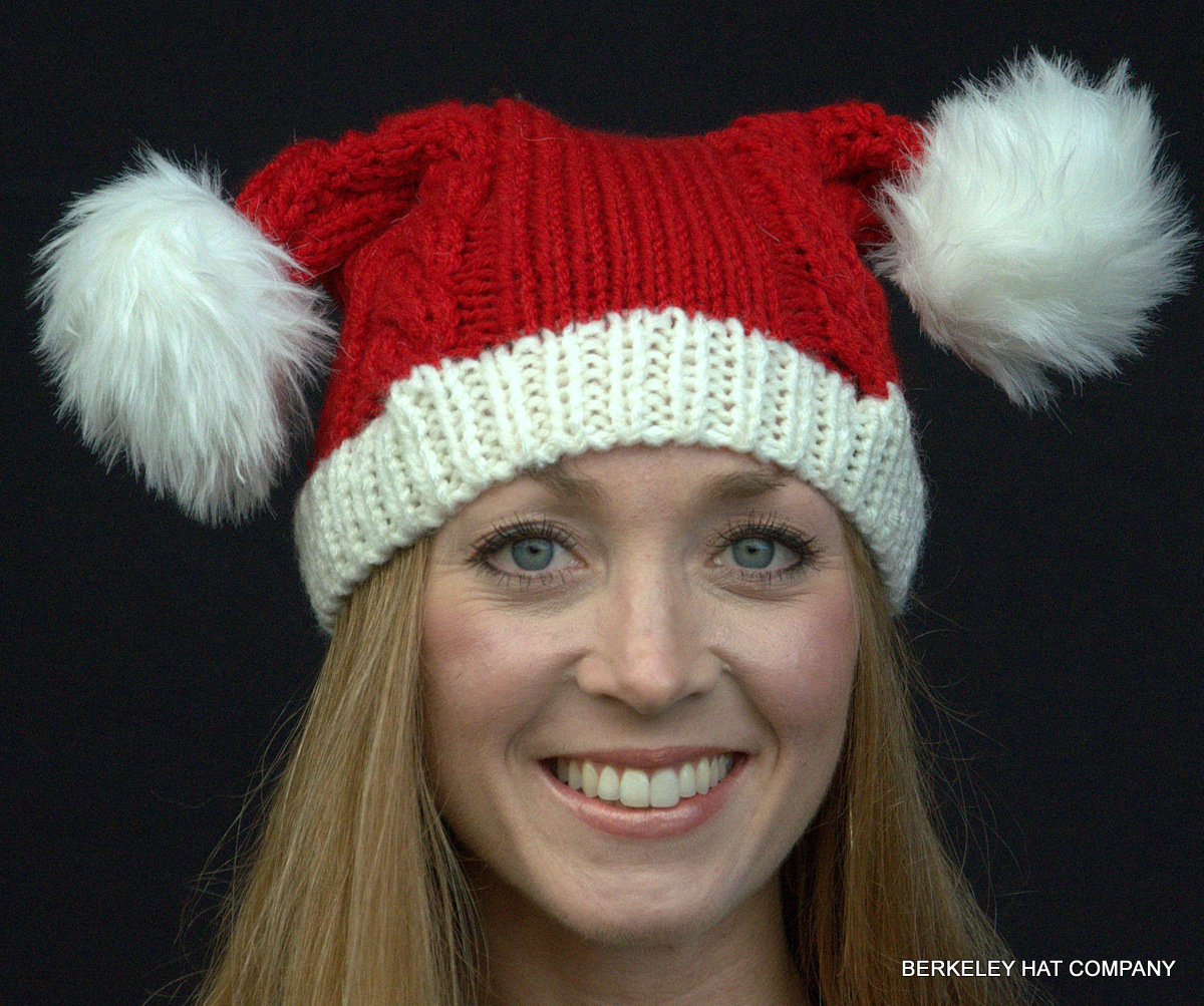 Knitting Pattern Christmas Hat : Knit Santa Hat Double Pom-Poms
