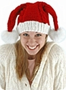 Knit Santa Hat<br>Double Pom-Poms