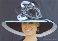 Ladies Black & White Derby Hat