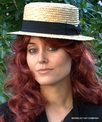 Ladies Straw Boater Hat