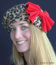 Leopard Print Beret<br>in Polar Fleece