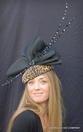 Leopard Print Fascinator with Black Bow<br>and Specialty Feathers