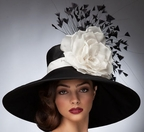 """Leslie"" Black Wide Brim Derby Hat<br>  with White Trim by Arturo Rios"