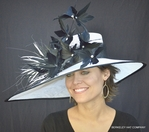 May Madness Kentucky Feather Hat<br>In White with Black Trim