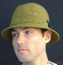 Mens Irish Walking Hat in Olive/Gold Donegal Tweed  (IR6)