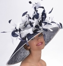 Navy and White Classy Spectator Hat