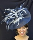 Navy & White Sinamay Fascinator