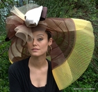 Brown Tone Off-the-face Hat for the Kentucky Derby