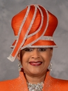 Orange Bubble Crown Church Hat by Scruples - Eve Andrea