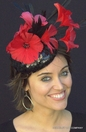 Black Sequin & Red Poppy Fascinator Hat