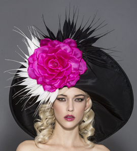 Rita, Black Pink and White Derby Hat by Arturo Rios