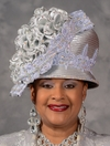 Silver Showpiece Church Hat by Eve Andrea