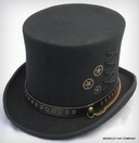 Steam Punk Wool Felt Top Hat, Black