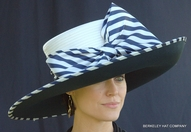 Striped Derby Spectator Hat<br>in Navy and White