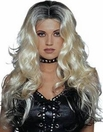 Sultry, Long Curly Parted Wig in Blond with Black Roots