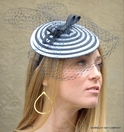 """Swirl"" Dish Fascinator<br>With Black Veil"
