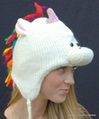 Unicorn Pilot Hat with Rainbow Yarn Mane