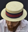 Rare Vintage Sennit Straw Boater Made in Japan