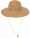Wide Brim Multi-Color Sun Hat With Chin Cord