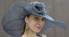 Wide Brim Straw Derby Hat in Grey