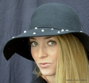 Wide Brim Wool Felt Hat With Studs