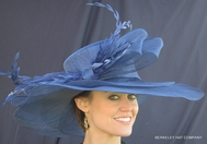 Woman in Blue Hat for the Kentucky Derby