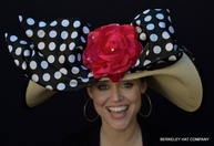 Kentucky Derby Women's Hat Classic Red Rose Polka-Dot