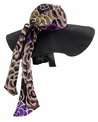 Women's Straw Hat with Attached Scarf