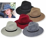Wide Brim Women's Fedora in Wool Felt