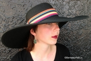 Women's Wide Brim Sun Hat Black with Multi-Color Band