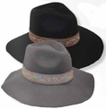 Women's Wide Brim Fedora in Wool Felt  with Paisley Band
