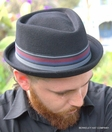 Wool Felt Diamond Crown Hat<br>with Striped Band