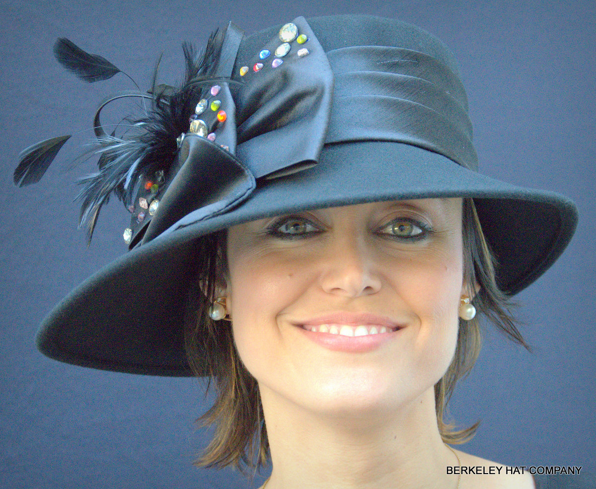 Felt Women&39s Dress Hat with Multicolored Stones