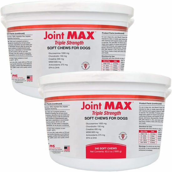 2 PACK Joint MAX TRIPLE Strength SOFT CHEWS (480 CHEWS)