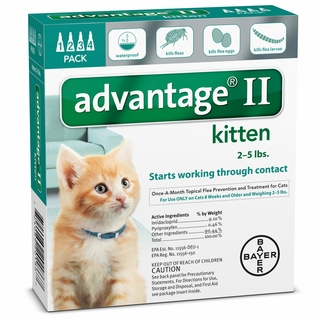 4 MONTH Advantage II Flea Control Small Kitten (for Cats under 5 lbs.)