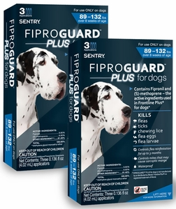 6-PACK Fiproguard Plus Flea & Tick Squeeze-On for Dogs 89-132 lbs