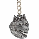 "Dog Breed Keychain USA Pewter - Alaskan Malamute (2.5"")"