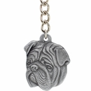 "Dog Breed Keychain USA Pewter - Bulldog (2.5"")"