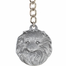 "Dog Breed Keychain USA Pewter - Pomeranian (2.5"")"
