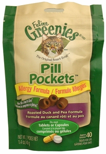 Feline Greenies Pill Pockets Duck & Pea Allergy Formula for Cats (1.4 oz)