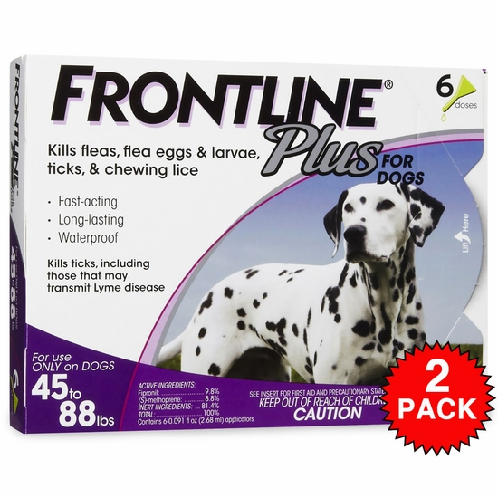 Frontline Plus for Dogs 45-88 lbs - PURPLE, 12 MONTH
