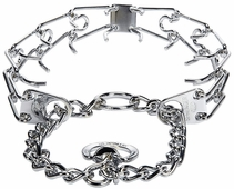 """Herm Sprenger Chrome Plated Stainless Steel Prong Training Collar without Swivel 25"""" - X-Large 4mm"""