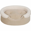 "JLA Pets Lucky Oval Cuddler with Cushion - Tan/Ivory (14x18"")"