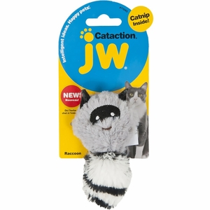 JW Pet Cataction Plush Catnip Racoon Grey