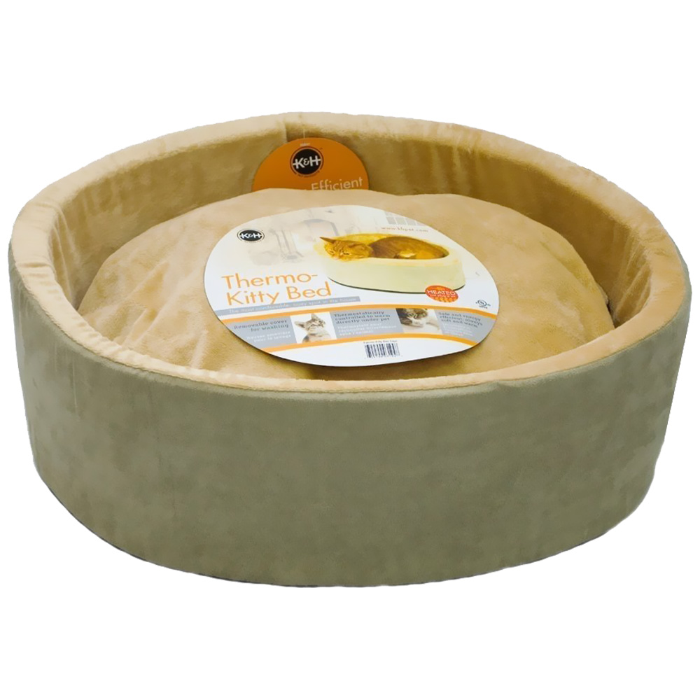 k&h thermo-kitty heated cat bed 16-inch sage