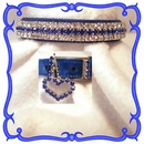 Rhinestone Dog Collars - Royal Blue Velvet